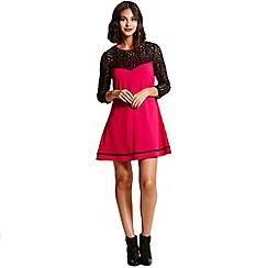 Girls On Film - Berry a- line tunic dress with black lace sleeves