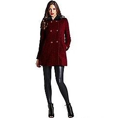 Little Mistress - Red and black faux fur collar coat