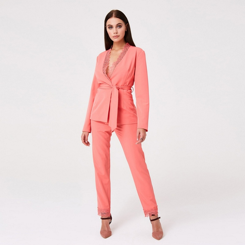 Paper Dolls Orange Montrose Coral Lace Trim Blazer - 14 - Women's - Jackets (P5057990143694) photo