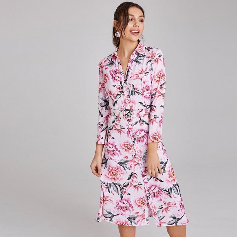 Paper Dolls Pink Marston Blush Floral-Print Belted Midi Shirt Dress - 10 - Women's - Dresses (P5057990180064) photo
