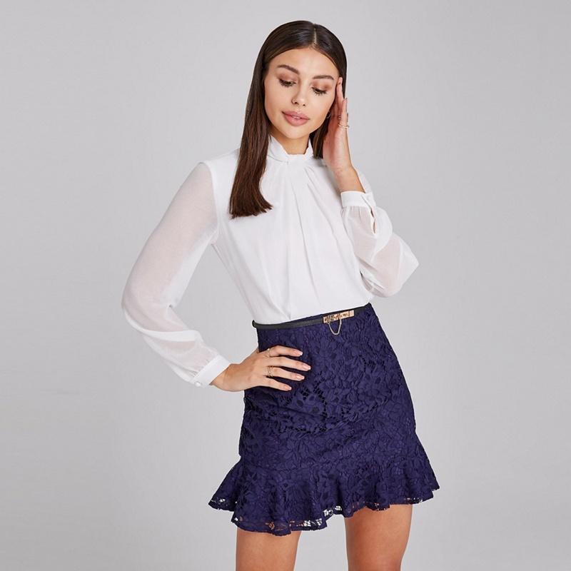 Paper Dolls Navy and White Portsea Lace Belted Peplum Mini Dress - 6 - Women's - Dresses (P5057990181726) photo