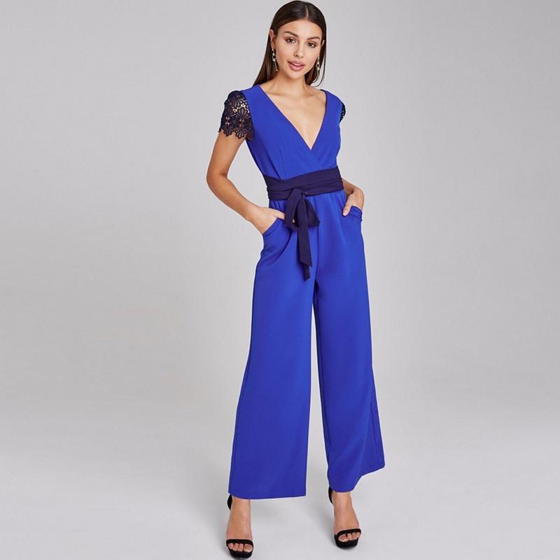 Paper Dolls Blue Tadley Cobalt Lace-Trim Jumpsuit - 14 - Women's - Playsuits & jumpsuits (P5057990182402) photo
