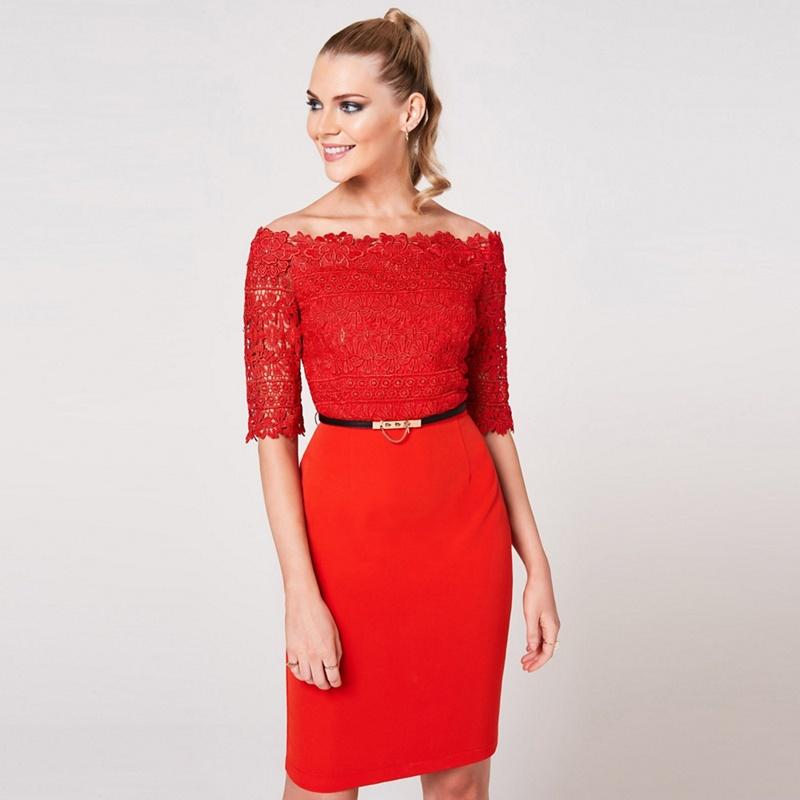 Paper Dolls Red Anika Tomato Crochet Belted Bardot Dress - 14 - Women's - Dresses (P5057990222962) photo