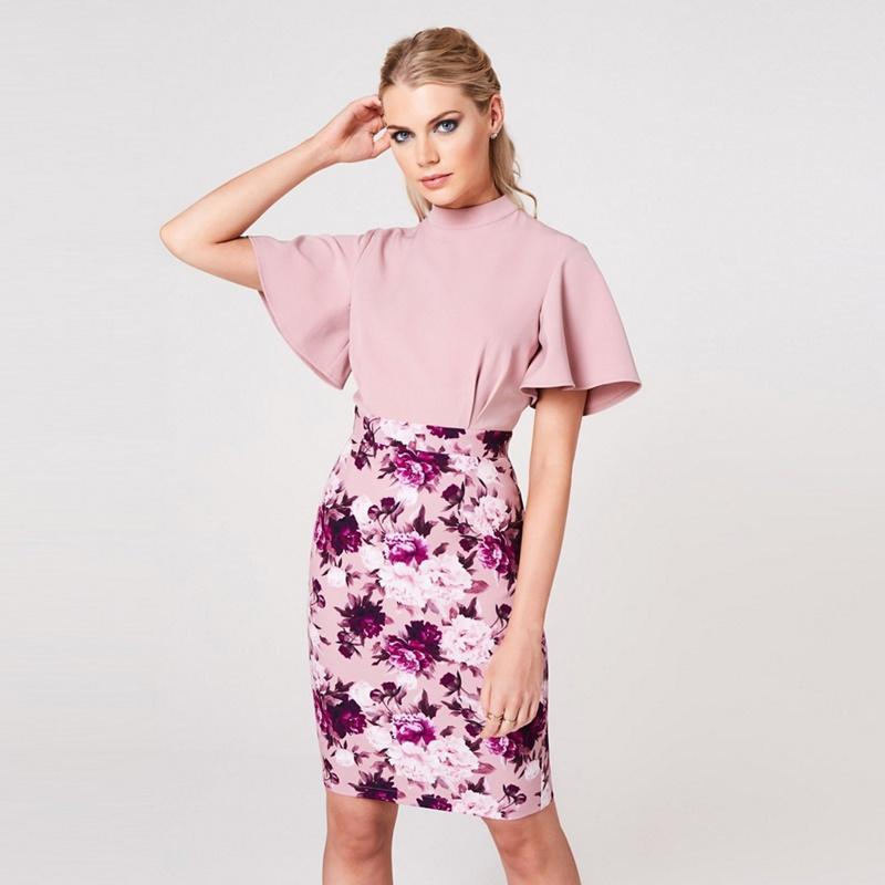 Paper Dolls Pink Kasai Dusty Blush Floral-Print Flutter Sleeves Dress - 10 - Women's - Dresses (P5057990223600) photo