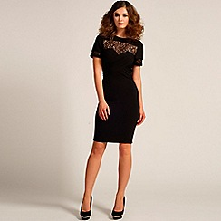 Paper Dolls - Black pleated front lace detail bodycon dress