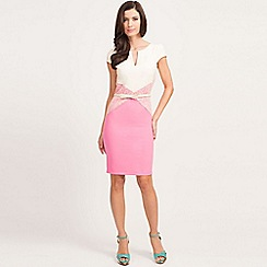 Paper Dolls - Pink and cream lace panel bodycon dress