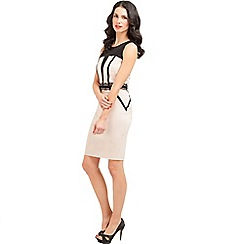 Paper Dolls - Cream and black lace panel bodycon dress