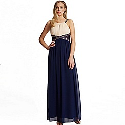 Laced In Love - Navy and cream embellished maxi dress