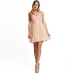 Laced In Love - Peach embellished prom dress