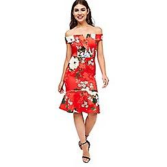 Girls On Film - Red Print Bodycon Dress