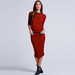 Girls On Film - Burgundy knitted pencil skirt