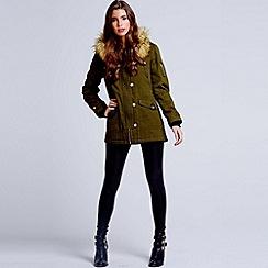 Girls On Film - Khaki faux fur trim hooded parka jacket