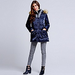Girls On Film - Navy faux fur collar sweater insert coat