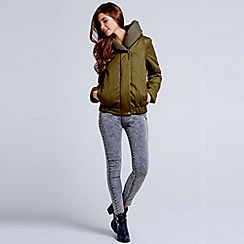 Girls On Film - Khaki hooded puffer jacket