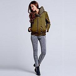 Girls On Film - Khaki hooded puffer jacket