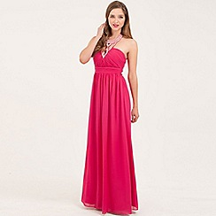 Little Mistress - Pink heavily embellished halterneck chiffon maxi dress