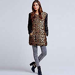 Girls On Film - Leopard print collarless coat