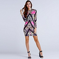 Girls On Film - Chevron geo print dress