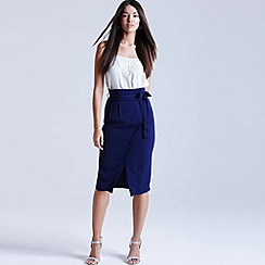 Girls On Film - Navy cross-over midi skirt