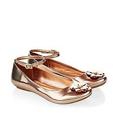 Monsoon - Gold Metallic flower ankle strap ballerinas