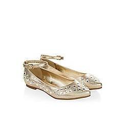Monsoon - Gold Almond toe gem flat