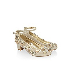 Monsoon - Gold Sparkle flower cha cha cha shoe