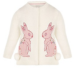 Monsoon - White Baby pippa bunny knit cardigan