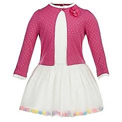 Monsoon - Pink Baby ivy pom pom dress