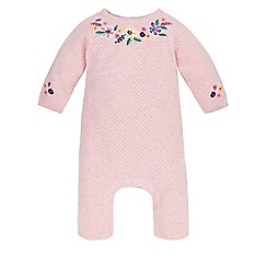 Monsoon - Pink Newborn tianna knitted sleepsuit
