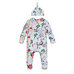 Monsoon - Blue Newborn florence print sleepsuit and hat