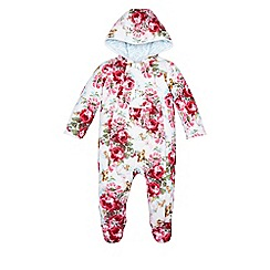 Monsoon - White Newborn sophia rose quilted pramsuit