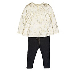Monsoon - White Baby olivia woven top and jegging set
