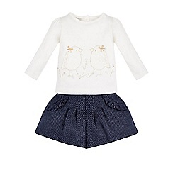 Monsoon - White Baby sabina bird lace top and short set