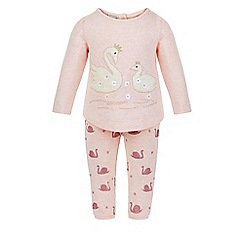 Monsoon - Pink Baby swan sweat set