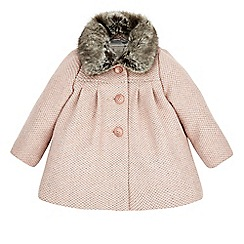 Monsoon - Pink Baby annie tweed coat with fur collar