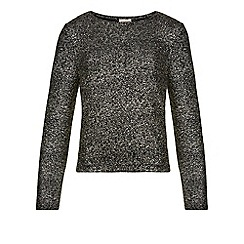 Monsoon - Black Reno foil print top