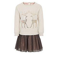 Monsoon - Brown Ruby reindeer 2 in 1 dress