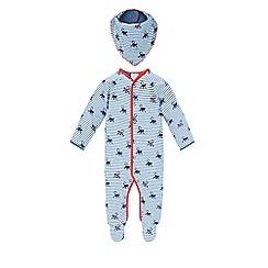 Monsoon - Blue Newborn monty monkey stripe sleepsuit and bib