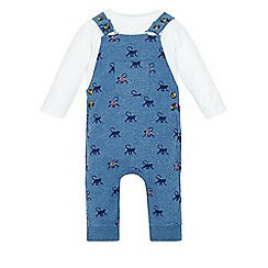 Monsoon - Blue Newborn monty monkey dungaree set