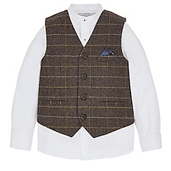 Monsoon - Brown 'Winston' herringbone waistcoat set