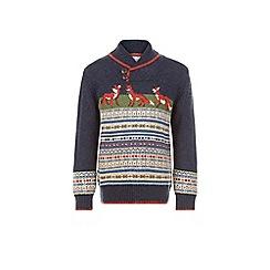 Monsoon - Blue Frankie fox shawl collar jumper