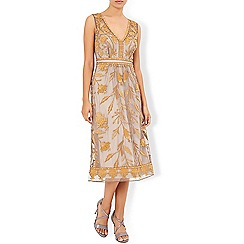 Monsoon - Gold Tawny embroidered sleeveless dress
