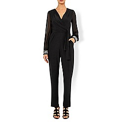 Monsoon - Black Taylor embellished cuff jumpsuit
