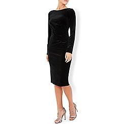 Monsoon - Black Tyra velvet long sleeve dress