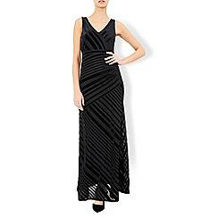 Monsoon - Black Helena velvet stripe maxi dress