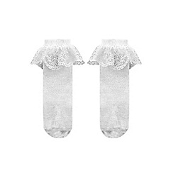 Monsoon - Baby girls' silver floral lace socks