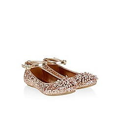 Monsoon - Gold Beaded pom pom glitter ballerina shoes