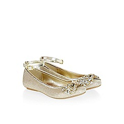 Monsoon - Gold Diamond bow ankle strap ballerina shoes