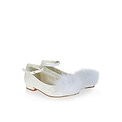 Monsoon - White Pom pom sparkle glitter flat shoes