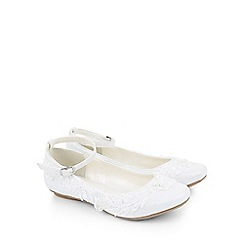 Monsoon - White Delicate lace and pearl ballerina